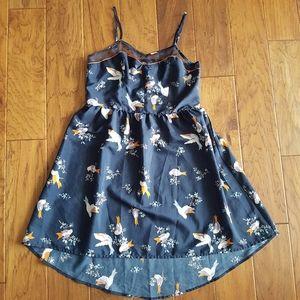 Xhilaration Navy Floral Bird Smocked Dot Dress